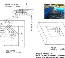 Plan de l'escalier après maçonnerie pour liner sur mesure