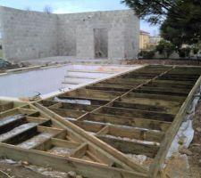 Construction terrasse en ils autour de la piscine