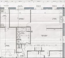 Plan intérieur de la maison (façade arrière) avec le futur local technique dans le garage