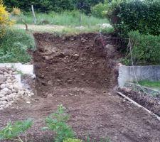 L'emplacement du local technique : encastré dans la bute derriere la maison (hauteur 3m !!!)