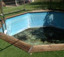 Alors voilà, le choix a vite était pris de changer la piscine. Je l'ai installer vite fait en 2008, c'est une piscine en bois que j'ai enterrée.  Dans quelques heures.... Sera démonter et offerte à des amis.
