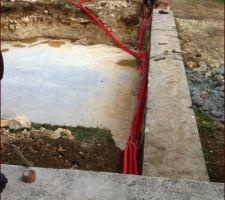 Passage des çables d'alimentation eau et électricité
