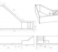 Plan avec mesures /!\ vues de dessus est le plan final les autres vues ne sont pas modifiés (local technique enterré deplacé et escalier mis a la place)