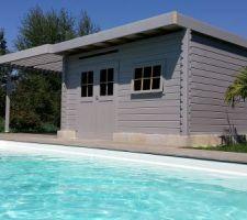 Voici le local technique - pool house. Cabanon acheté dans le commerce que j'ai transformé pour avoir un toit plat avec une pergola bio-climatique. Dans ce local se trouvera 1wc 1 douche et 1 kitchenette.