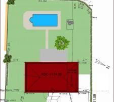 Plan terrain avec piscine