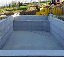 Projet 4 x 8 semi enterr e b ton brut piscines for Piscine 4x8