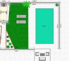 Plan, il y aura des margelles couleur ardoise puis un tour de piscine carrelé gris de 1m et un caniveau de galet blanc pour les jonctions(murs et pelouse synthétique)