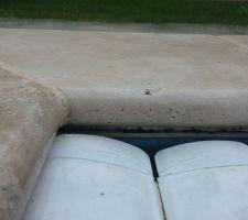 Petite tache de moisissure entre liner et margelle au niveau du joint de silicone
