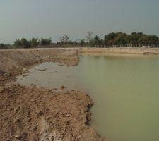 Février 2004 : Marquage de l'emplacement de la piscine en bordure du lac (qui vient d'être creusé sur ~8.000 m2 avec une profondeur de 3m)