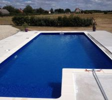 Nous avons choisi cette forme de bassin avec toutefois des dimensions plus modestes (9.5x4 escalier inclus). Je reste charmée par ce liner bleu marine mais peur de regretter par temps un peu plus nuageux.