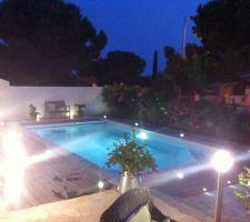 Espace piscine avec terrasse en IPE.  (Avril 2015)