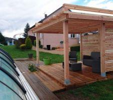 Agrandissement de la terrasse et pergola faite maison