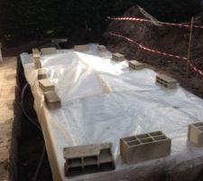 C'est l'hiver la bâche de chantier est posé les travaux avanceront petit à petit au cours de l'hiver jusqu'au beau jour du mois de mai