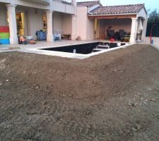 Vue de la piscine en court de construction. Un peu surélevé chez moi pour être à fleur de terrasse.