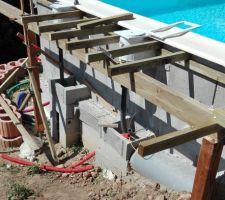 La structure de la terrasse Est en cours de construction.   Il y a une beau dénivelé, comme le terrain n'est pas encore stabilisé elle repose sur deux poteaux réglables en hauteur