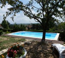 La Piscine avec les terrasse Est et Nord ( A comparer au photo montage d'avant projet ...)