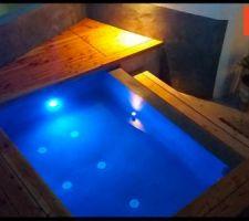En version nuit, les différents éclairages mettent en valeur le bassin et l'aménagement bois, le tout étant piloté en automatique. présentation de l'armoire électrique très vite....