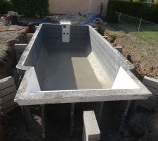 Chape de finition faite et mur de soutient de la terrasse