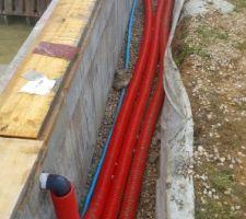 Mise en place tuyau semi rigide dans de la gaine tpc rouge 90mm
