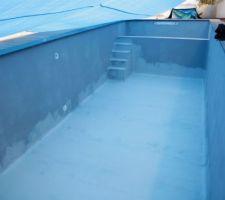 Pose du Lanko 588 pour etre bien sur que la piscine sera étanche !!