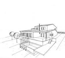 Dessin de la maison, terrasse et position envisagée pour la piscine