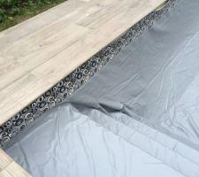 Mise en place du liner gris avec frise moderne escalier