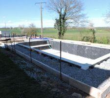 Coffrage de la terrasse autour de la piscine