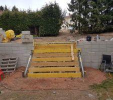 L'escalier d'accès à la piscine...