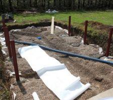 Trou creusé pour la positionnement du drain.