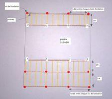 1er plan de la plage en bois sur vis de fondation (double structure)