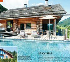 Une des nombreuses publications du chalet en rondin avec la piscine terminee