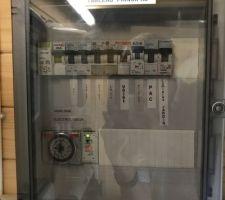 Coffret général : Électrolyseur  Tableau filtration  Coffret hors gel Lumières local Volet DEL Prises extérieures PAC Lumières du jardin sur domotique