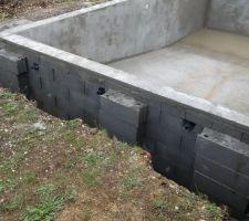 Élévation des murs en parpaings a bancher 20x20x50 modèle VARIBLOC, remplis de béton dosé a 350 kg, armé de tors de 8 A chaque rang de parpaings et tous les 2 mètres verticalement