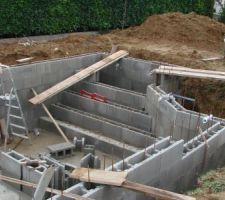 Construction de l escalier  ,mise en place des traversées de parois
