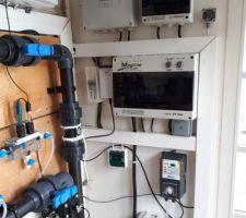 Bypass, sondes, débitmètre, automate régulation PH et tableau électrique.
