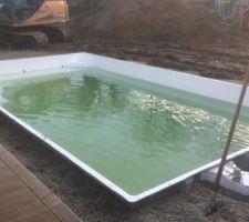 La piscine est presque remplie. L'eau est très verte, un traitement est en cours.