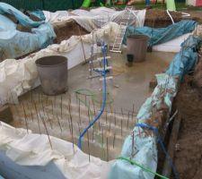 Nettoyage de la dalle: Retirer la terre Vidé l'eau Rinçage de landalle
