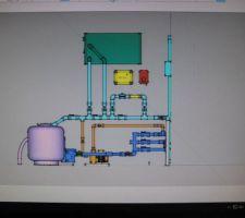 La pompe à chaleur placée en hauteur et en (vert), reçoit l'arrivée et sortie verticales.