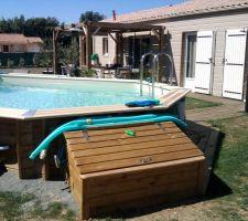 Piscine bois nortland semi enterr e dans le 79 les - Coffre filtration piscine ...