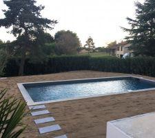 Engazonnement, plantation et dalle autour de la piscine