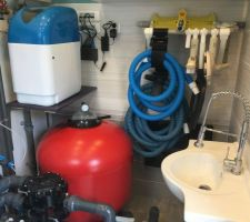 Local technique, filtre à sable, lavabo pour nettoyer les filtres ou autres, support accessoires, système informatique et adoucisseur pour les sanitaires