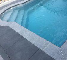 Vue piscine nouvelle margelles granit anthracite