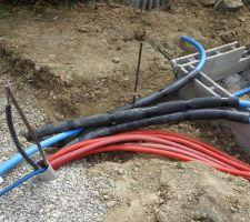 Fourreaux électriques et canalisations vers le local technique