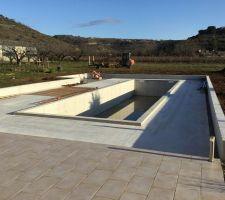 Le 6 janvier 2019 : perspective de la piscine vue de la terrasse maison.