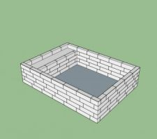 Modélisation 3D de la construction en blocs.