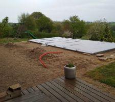 Préparation de la terrasse en béton...