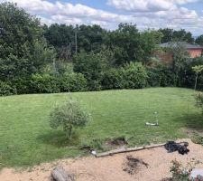 Le terrain avant implantation.... adieu belle pelouse et arbustes...
