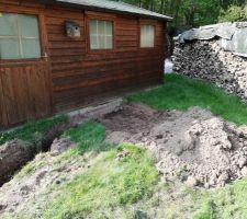 23 avril 2020, on commence à creuser, emplacement de la pompe à chaleur
