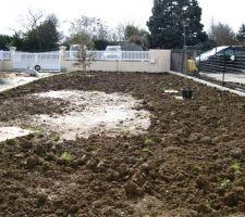 Apres avoir étaler la terre de la piscine on doit refaire la pelouse