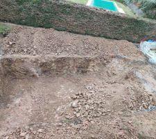 Terrassement en cours.... On arrive sur un filon de rochers ??